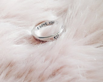 Engraved I Love You Heart Stacking Ring | Valentines | Gift Idea | Girlfriend | Jewellery | Love Jewelry | SALE