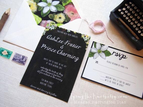 Hand Painted Wedding Invitations - Wedding Invitation Suite - Black Invitation - Floral Invitations