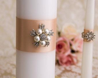 Pearl Unity Candle, Unity Wedding Candle Set, Bling Candle, Crystal Unity Candle Set, Wedding Candle Set, Blush Wedding Unity Set