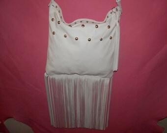 White Leather over the sholder bag