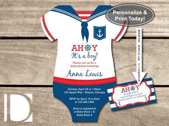 nautical baby shower invitation onesie ahoy it u0026 39 s by