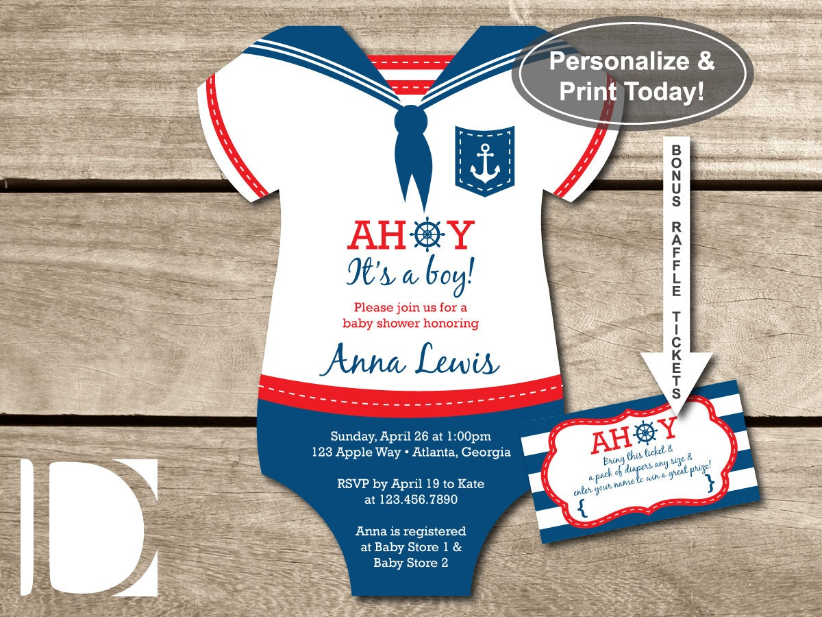 Nautical Baby Shower Invitations Etsy is good invitations sample