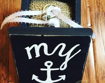 Ring bearer box // ring bearer pillow alternative // my anchor // i do // i promise // customize it