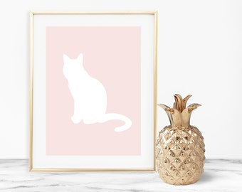 Cat pet print-cat-any breed-blush-custom-DIGITAL PRINT-PRINTABLE