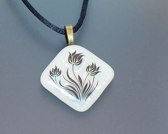 Flowers on Beige Dichroic Fused Dichroic Glass Pendant Necklace