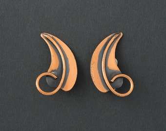 Vintage Rebajes  Earrings Copper Leaves