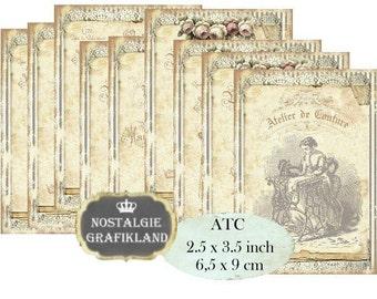 Vintage Sewing Atelier de Couture Lace Old Paper Label Download ATC digital collage sheet S190 PDF