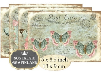 Postcards Butterfly Papillon Butterflies Instant Download digital collage sheet P121 Shabby Chic