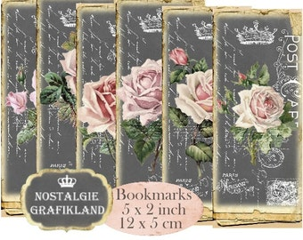 Ephemera Chalkboard Vintage Papers Postcards Rose Bookmarks Instant Download digital collage sheet E191