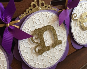Royal Princess Purple and Gold Birthday Baby Shower Banner