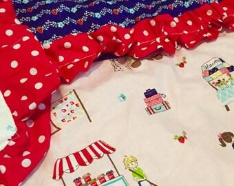 Custom ruffle baby quilt- pick your fabrics, shabby chic baby blanket, crib comforter