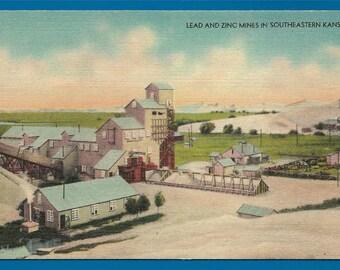 Vintage Linen Postcard - Lead and Zinc Mines in Southeastern  Kansas  (2000)