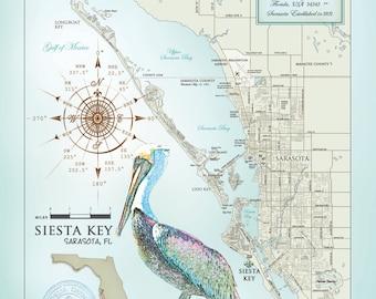 "Sarasota & Siesta Key Area 11""x14"" artistic map"