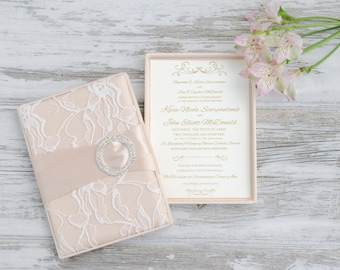 Elegant Boxed Wedding Invitation - Bridal Shower-  Baby Shower - Engagement Party - Blush and Lace -  Custom Colors Available