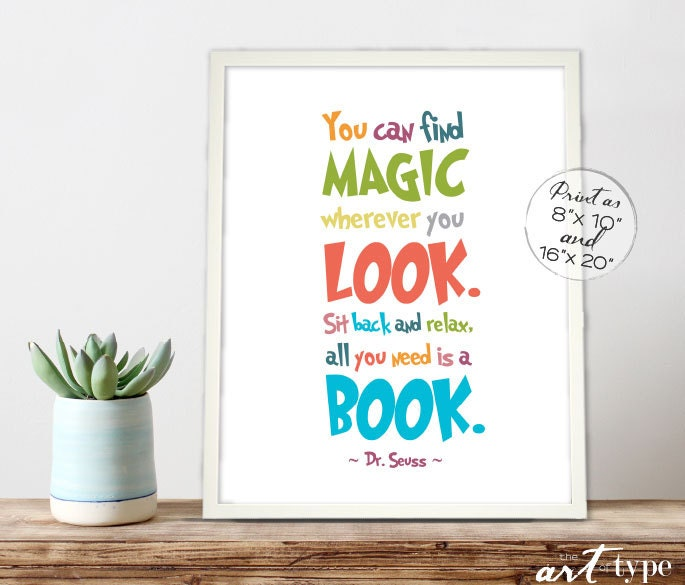 Reading Quotes For Kids: Dr. Seuss Reading Print INSTANT DOWNLOAD 8x10 16x20 Printable