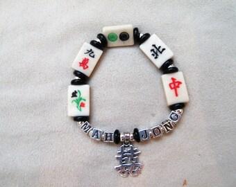 Mahjongg bracelet - 925 silver - Bone MJ beads