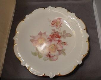 "Schumnn Arzberg China Large Dinner Plate, Bavaria German E & R Import ""WILD ROSE PATTERN""."