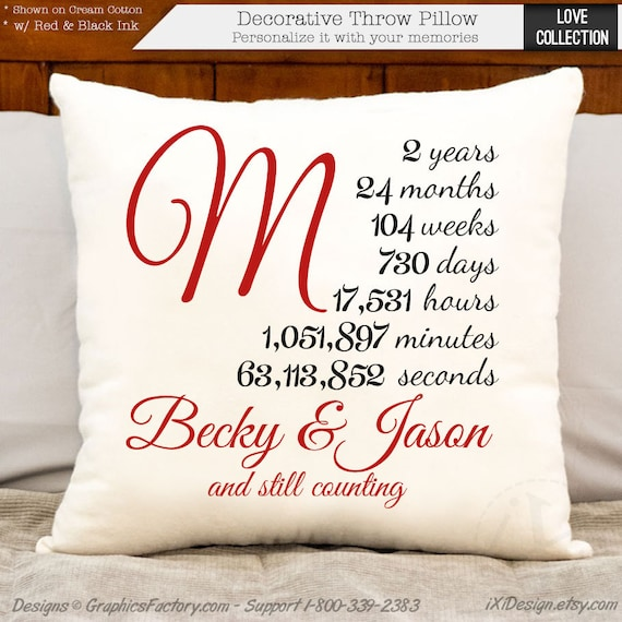 2 Year Anniversary Gift: 2 Year Anniversary Cotton Gift Two Year Personalized