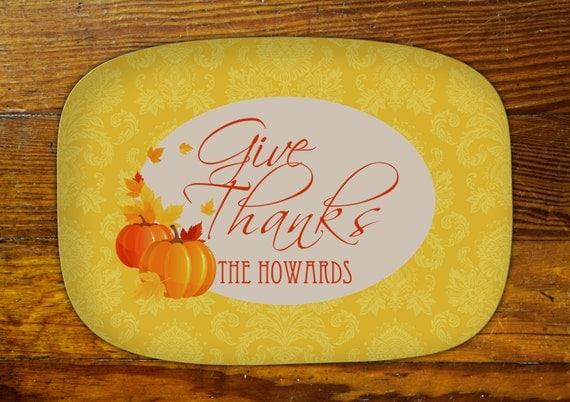 Personalized Serving Platter-Thanksgiving Damask