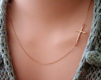 Rose Gold Cross Necklace/Rose Gold Sideways Cross Everyday Off Center Delicate Hammer Thin Cross Necklace/Gift for Sister Best Friend Mom
