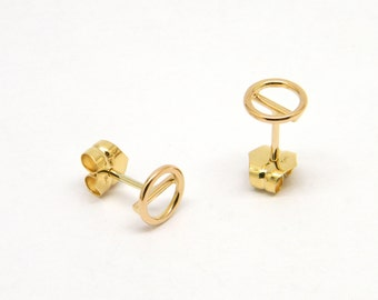 18K solid gold circle stud earrings