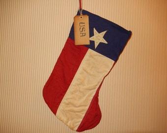 Prim Patriotic Flag Stocking  -   READY TO SHIP