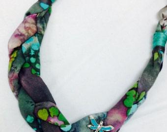 Braided Fabric Bib Necklace