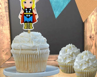 Cupcake Toppers - Set of 12 - Superhero Thor Theme