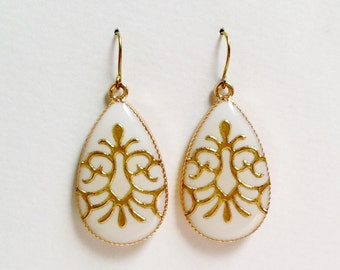 White Teardrop Earrings, Gold Arabesque Earrings, Ivory Teardrop Earrings, White Resin Teardrop, Hypoallergenic, Resin Jewelry For Her
