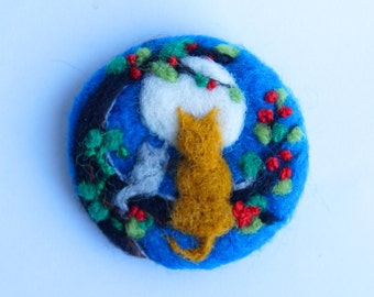 Cat brooch, cat pin, Needle felted brooch, 'Holly and Ivy', Wool, Felt Brooch, Gifts for her, cat jewellery, ginger cat