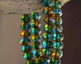 10 Capri Blue & Amber 8x6mm- Czech Picasso Faceted Rondelle Beads- Mango Sea (676-10)