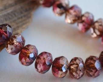 6 Fuchsia & Transparent Cruller Rondelles 9x6mm- Czech Glass Picasso Beads  (162-6)