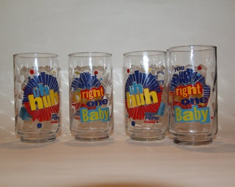 Vintage 90s Glasses - You Got the Right One Baby Uh-Huh, Diet Pepsi Set of 4, 1991