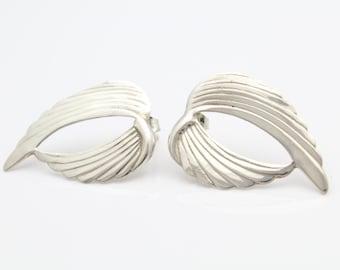 Hand-Pressed Wing Stud Earrings in Sterling Silver. [10648]