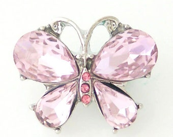 K8148 Butterfly ~ Large Pink Faceted Wings Accented with Pink Crystals Set in Silver