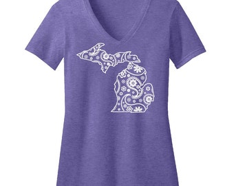 Michigan Paisley Fitted V-Neck T-Shirt
