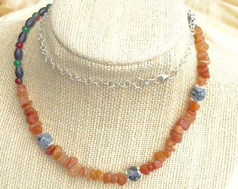 Peach Aventurine Necklace with Gemstone Chips and Snowflake Obsidian, Boho Necklace