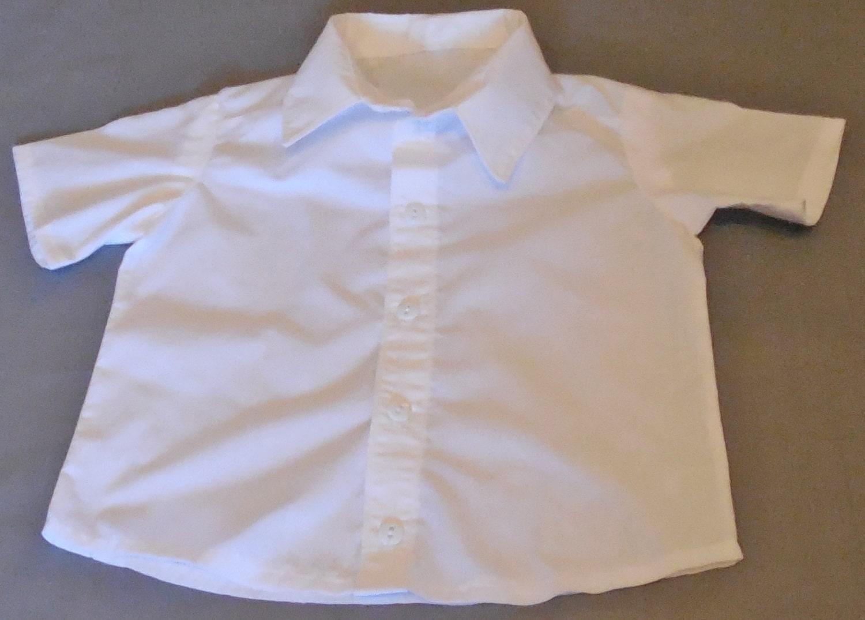 Baby boy 39 s white button down short sleeve dress shirt for Short sleeve white dress shirt