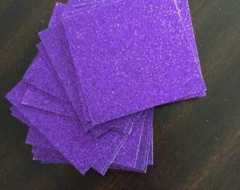 "Purple Glitter Cardstock (25) - 2""x2"" glitter paper"