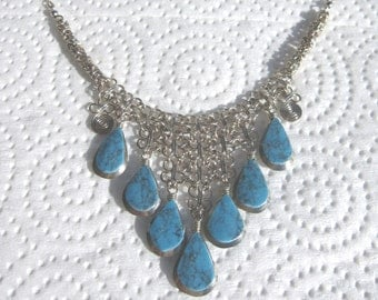 Peruvian Turquoise Lab-Created Gemstone Necklace #61