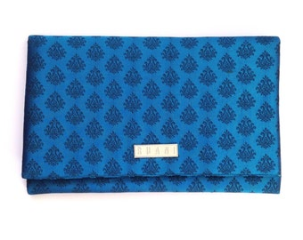 Blue Brocade Fabric Clutch Bag