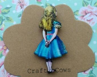 Alice in wonderland brooch kitsch Alice badge Alice jewellery