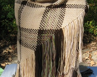 Cream and Brown Plaid Handwoven Triangle Shawl with Fringe