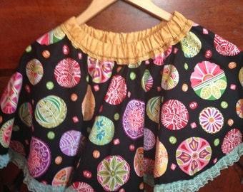 Toddler Skirt, Twirly Skirt, Circle Skirt, Girls Circle Skirt, Toddler Girls Twirl Skirt, Girls Skirt, Colorful Cotton Skirt, Black Skirt