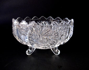 Heavy Pressed Pattern Glass Footed Fruit Bowl, Early to mid Century Vintage, Scalloped Edge Aztec Pattern