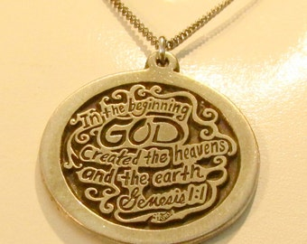 """Christian Bible Pendant Necklace """"In the Beginning God Created the Heavens and the Earth"""" Genesis 1:1 Creation in Pewter or Silver"""
