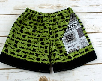 Mustache Barbershop Quartet  Pocket Shorts - Size 2t - Birthday - Party - Theme - Special Occasion - Celebration - boys - elastic waist
