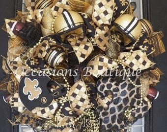 New Orleans Saints Football Wreath, NFL Wreaths, Door Hanger, Decoration, Wreath for Door, Front Door Wreaths, Ready to Ship