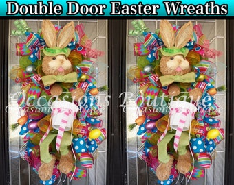Double Door Easter Swags, Easter Wreaths, Double Door Wreaths, Easter Bunny Wreaths, Whimsical Wreath, Deco Mesh Wreaths, Made to Order