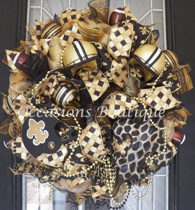 New Orleans Saints Football Wreath Nfl Wreaths Door Hanger